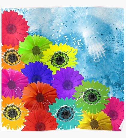 Bright Colorful Flowers on Blue Watercolor Poster