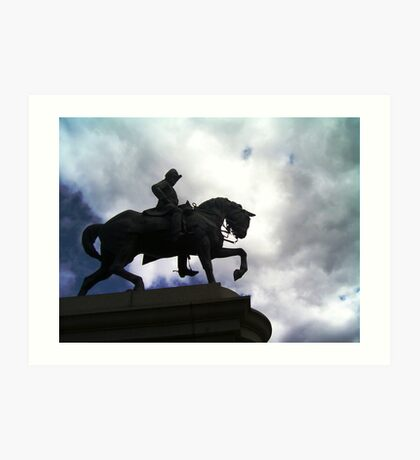 Horse and Rider In Sihouette Art Print