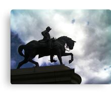 Horse and Rider In Sihouette Canvas Print