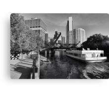 Chicago river and Kinzie bridge Canvas Print