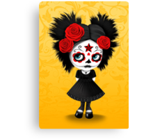 Shy Big Eyes Day of the Dead Girl with Red Roses Canvas Print
