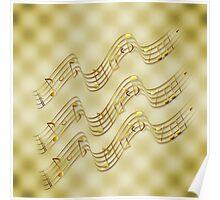 Golden Music Notes Poster