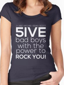 5ive Bad Boys with the Power to ROCK YOU! (original lineup - white version) Women's Fitted Scoop T-Shirt