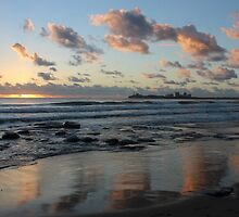 Mooloolaba beach Qld AU reflections by Jeannine de Wet