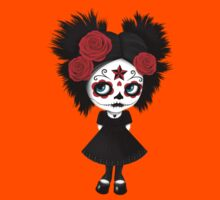 Shy Big Eyes Day of the Dead Girl with Red Roses Kids Clothes