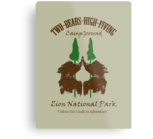 Two-Bears High Fiving Campground Metal Print