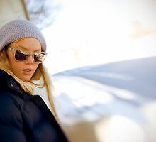 Retro girl with sunglasses by Vegard Giskehaug