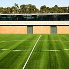 Centerline of an empty soccer stadium by mrfotos