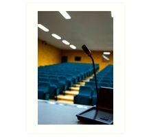Microphone in an empty auditorium Art Print