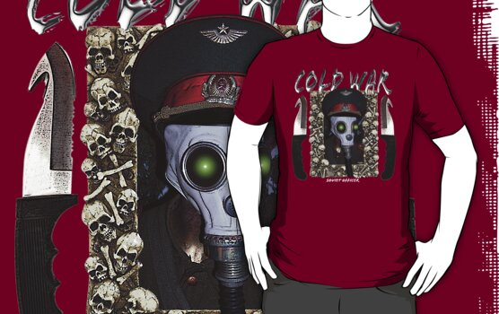 Soviet Officer Gas Mask T Shirt by bear77