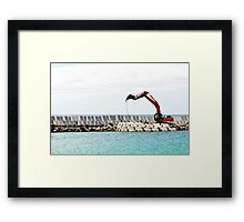 Heavy excavator machine in a pier construction site Framed Print