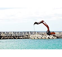 Heavy excavator machine in a pier construction site Photographic Print