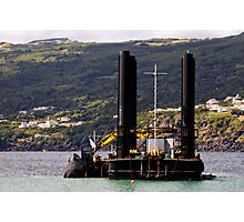 Dredger and barge working near the shore Photographic Print