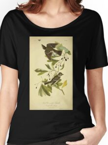 James Audubon Vector Rebuild - The Birds of America - From Drawings Made in the United States and Their Territories V 1-7 1840 - Small Green Crested Flycatcher Women's Relaxed Fit T-Shirt
