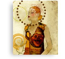 Lady Voila and Black Ribbon Canvas Print