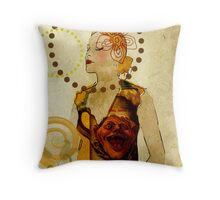 Lady Voila and Black Ribbon Throw Pillow