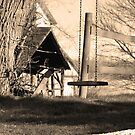 Swing and fence in sepia by mltrue