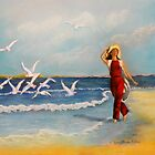 Joy of Freedom  (seagulls beach) by Sandra  Sengstock-Miller