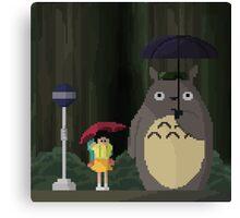 Totoro Bus Stop Pixelated Canvas Print