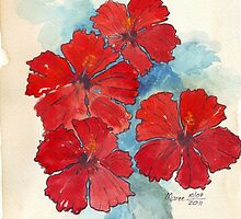 Red & Blue Hibiscus by Maree  Clarkson
