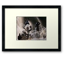 Silhouette's & Water Fountains Framed Print