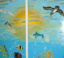 Sea Life Door Mural  by LenaHunt