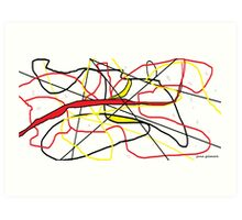 Abstract in Red, Yellow, & Black... on White Art Print