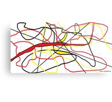 Abstract in Red, Yellow, & Black... on White Metal Print