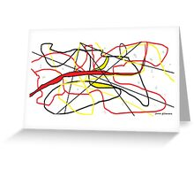 Abstract in Red, Yellow, & Black... on White Greeting Card