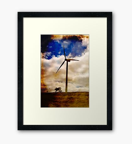 Wind turbine with texture Framed Print