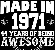 Made in 1971... 44 Years of being Awesome by cutetees