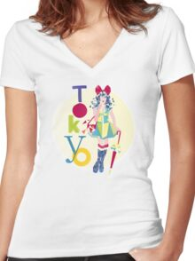 Fashion Tokyo City Woman  Women's Fitted V-Neck T-Shirt