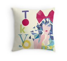 Fashion Tokyo City Woman Portrait Throw Pillow