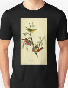 James Audubon Vector Rebuild - The Birds of America - From Drawings Made in the United States and Their Territories V 1-7 1840 - Painted Bunting T-Shirt