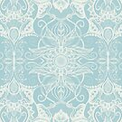Floral Pattern in Duck Egg Blue & Cream by micklyn