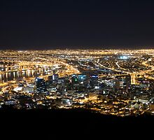 Cape Town by Night with Queen Mary 2 in Port by SeeOneSoul