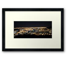 Cape Town by Night with Queen Mary 2 in Port Framed Print