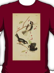 James Audubon Vector Rebuild - The Birds of America - From Drawings Made in the United States and Their Territories V 1-7 1840 - Hudson's Bay Titmouse T-Shirt