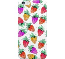 Bright Colorful Watercolor Fruity Strawberries iPhone Case/Skin