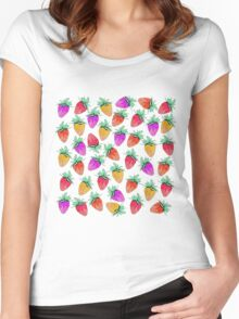 Bright Colorful Watercolor Fruity Strawberries Women's Fitted Scoop T-Shirt