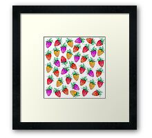 Bright Colorful Watercolor Fruity Strawberries Framed Print