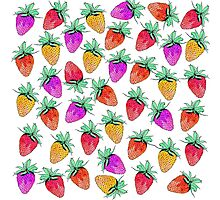 Bright Colorful Watercolor Fruity Strawberries Photographic Print
