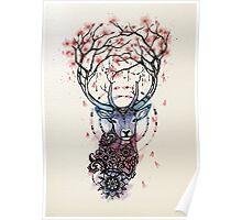 Watercolor Sakura Deer Poster