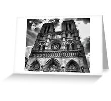 Notre Dame in black and white Greeting Card
