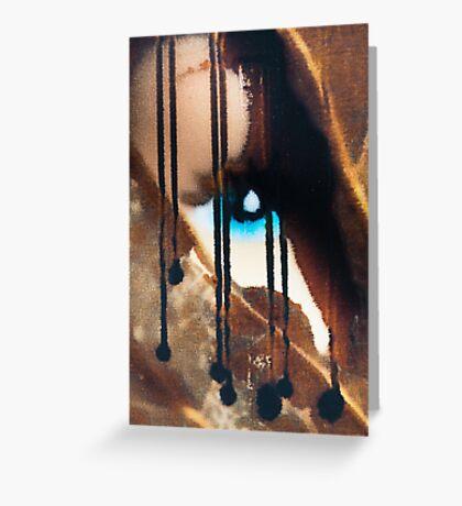 Blue eyes- black tears Greeting Card