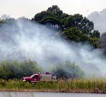 Foam 4 at Savannahs Indrio brush fire by Larry  Grayam