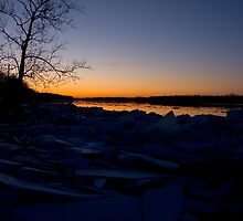 Winter sunset on the Maumee by Jeffrey  Snowden