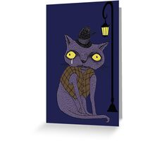 Sad Cat with Moonlight Memories Greeting Card