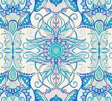 Teal Blue, Pearl & Pink Floral Pattern by micklyn