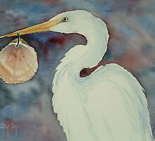White Egret with Shell by Autry  Dye